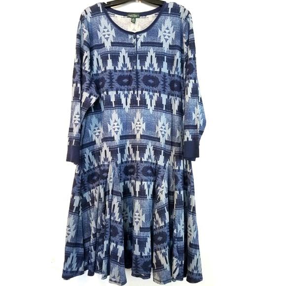 94509fc402a Lauren Ralph Lauren Dresses | 3x Ralph Lauren Blue Knit Henley Tunic ...